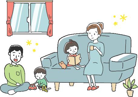 キレイな空気で笑顔と暮らす家族のイラスト